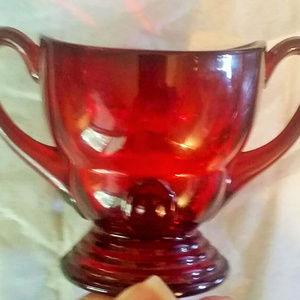 Vintage Martinsville Moondrops Ruby Sugar Bowl